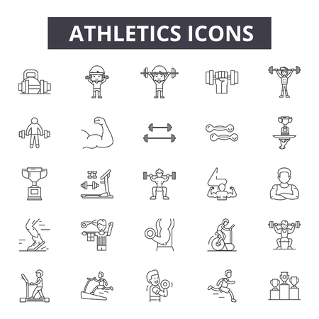 Athletics line icons for web and mobile. Editable stroke signs. Athletics  outline concept illustrations Illustration