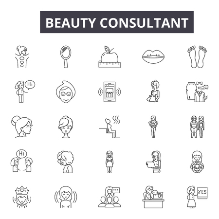 Beauty consultant line icons for web and mobile. Editable stroke signs. Beauty consultant  outline concept illustrations