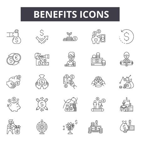 Beneficios de los iconos de línea para web y móvil. Signos de trazo editables. Beneficios esquema ilustraciones del concepto Ilustración de vector