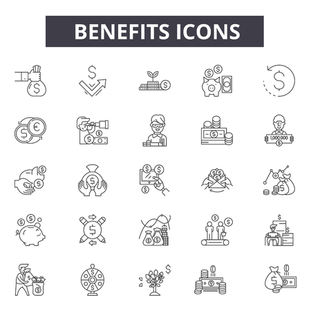 Benefits line icons for web and mobile. Editable stroke signs. Benefits  outline concept illustrations Ilustração