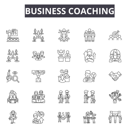 Business coaching line icons for web and mobile. Editable stroke signs. Business coaching  outline concept illustrations