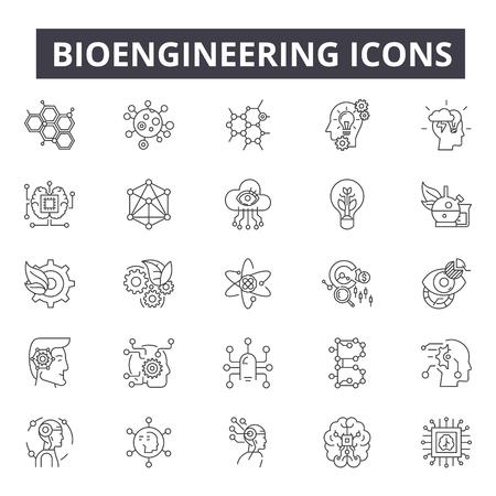 Iconos de línea de bioingeniería para web y móvil. Signos de trazo editables. Ilustraciones del concepto de esquema de bioingeniería Ilustración de vector