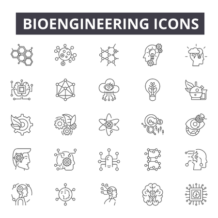Bioengineering line icons for web and mobile. Editable stroke signs. Bioengineering  outline concept illustrations Illustration