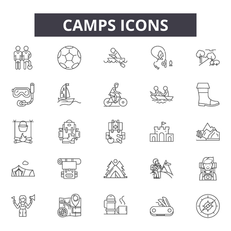 Camps line icons for web and mobile. Editable stroke signs. Camps  outline concept illustrations