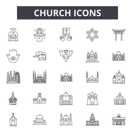 Church line icons for web and mobile. Editable stroke signs. Church  outline concept illustrations Illusztráció