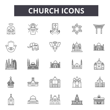 Church line icons for web and mobile. Editable stroke signs. Church  outline concept illustrations Illustration