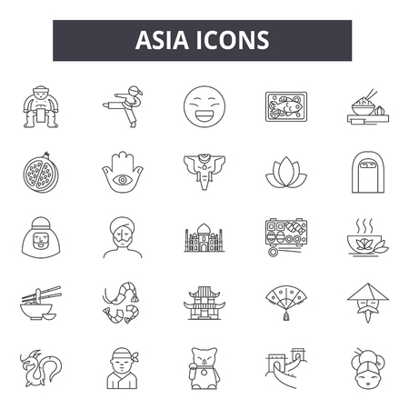 Asia line icons for web and mobile. Editable stroke signs. Asia  outline concept illustrations