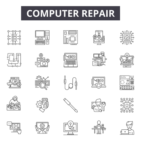 Computer repair line icons for web and mobile. Editable stroke signs. Computer repair outline concept illustrations Vector Illustratie