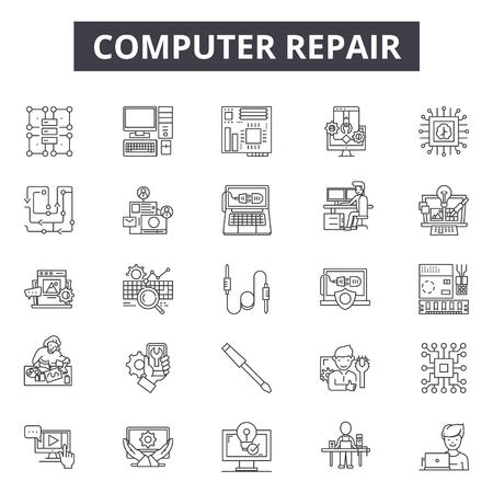 Icônes de ligne de réparation d'ordinateurs pour le web et le mobile. Signes de course modifiables. Illustrations de concept de contour de réparation d'ordinateur Vecteurs