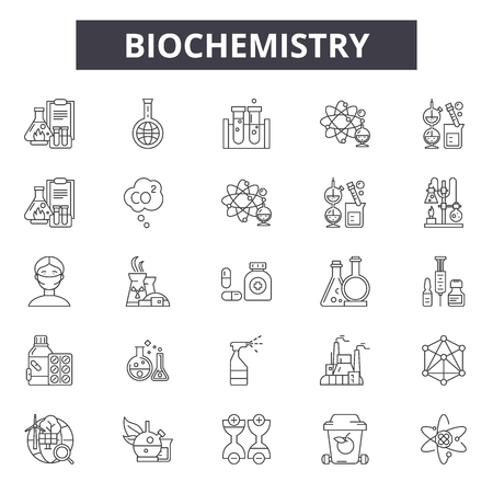 Biochemistry line icons for web and mobile design. Editable stroke signs. Biochemistry outline concept illustrations