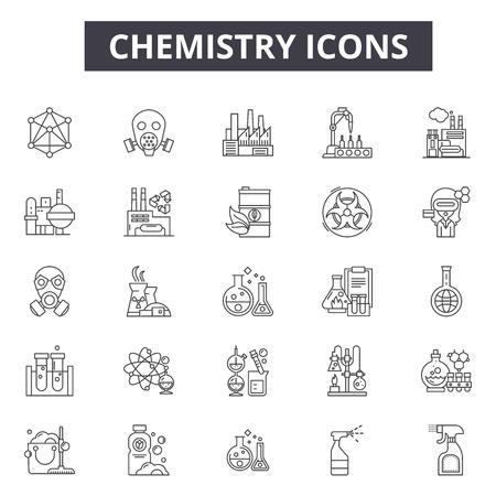 Ikony linii chemii dla sieci web i mobile. Edytowalne znaki obrysu. Ilustracje koncepcji zarysu chemii Ilustracje wektorowe