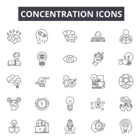 Concentration line icons for web and mobile. Editable stroke signs. Concentration  outline concept illustrations Illusztráció