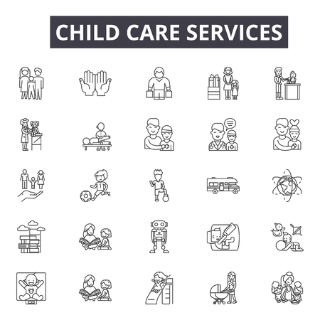 Child care services line icons for web and mobile. Editable stroke signs. Child care services  outline concept illustrations Stock Illustratie