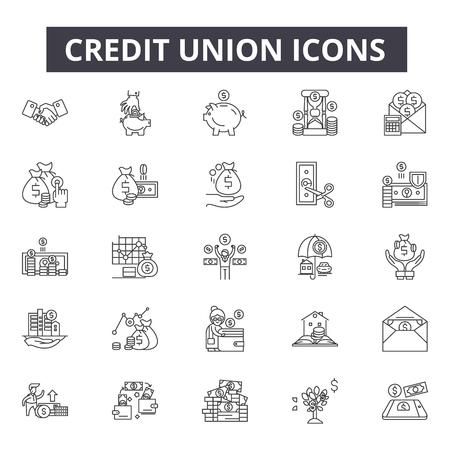 Credit union line icons for web and mobile. Editable stroke signs. Credit union outline concept illustrations Ilustração Vetorial