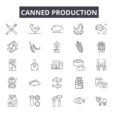 Canned production line icons for web and mobile. Editable stroke signs. Canned production  outline concept illustrations 스톡 콘텐츠 - 119390738