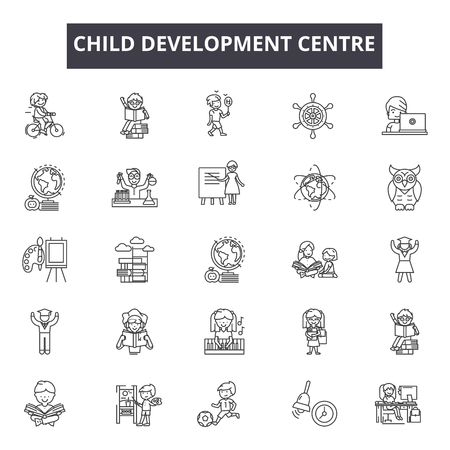 Child development centre line icons for web and mobile. Editable stroke signs. Child development centre  outline concept illustrations Stockfoto - 119390741