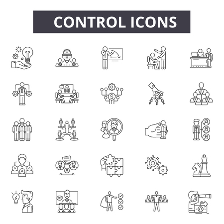 Control line icons for web and mobile. Editable stroke signs. Control  outline concept illustrations Ilustrace