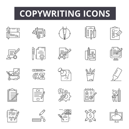 Copywriting line icons for web and mobile. Editable stroke signs. Copywriting  outline concept illustrations
