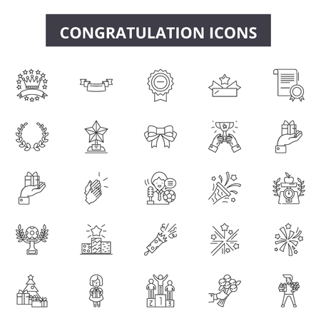 Congratulation line icons for web and mobile. Editable stroke signs. Congratulation  outline concept illustrations