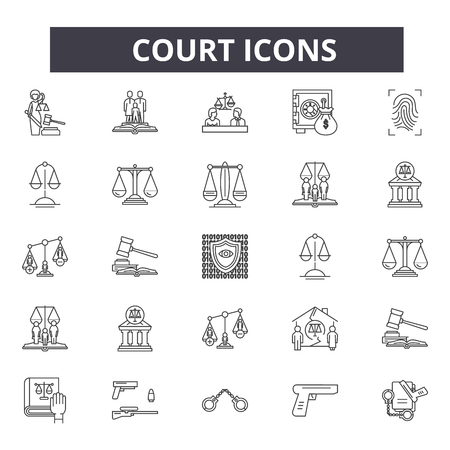 Court line icons for web and mobile. Editable stroke signs. Court  outline concept illustrations Vettoriali