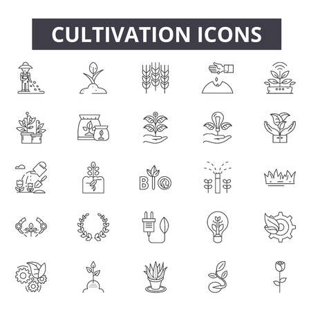 Cultivation line icons for web and mobile. Editable stroke signs. Cultivation  outline concept illustrations