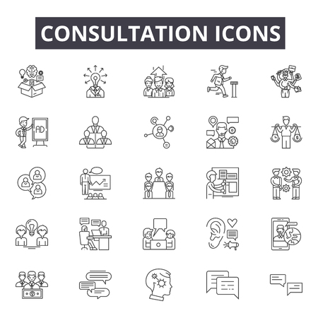 Consultation line icons for web and mobile. Editable stroke signs. Consultation  outline concept illustrations Foto de archivo - 119390529