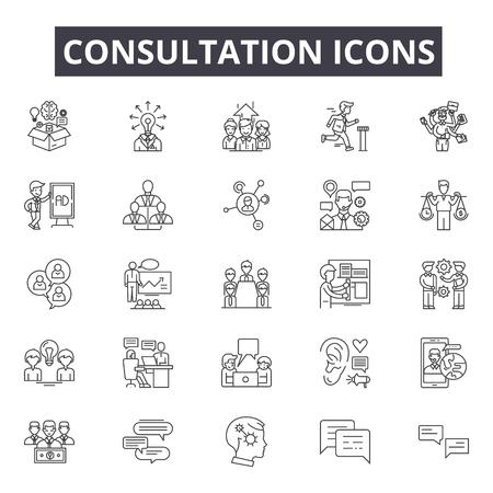 Icone della linea di consultazione per web e mobile. Segni di tratto modificabili. Illustrazioni del concetto di contorno di consultazione Vettoriali