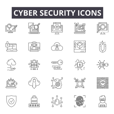 Cyber security line icons for web and mobile. Editable stroke signs. Cyber security  outline concept illustrations