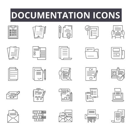 Documentation line icons for web and mobile. Editable stroke signs. Documentation outline concept illustrations Vektorgrafik
