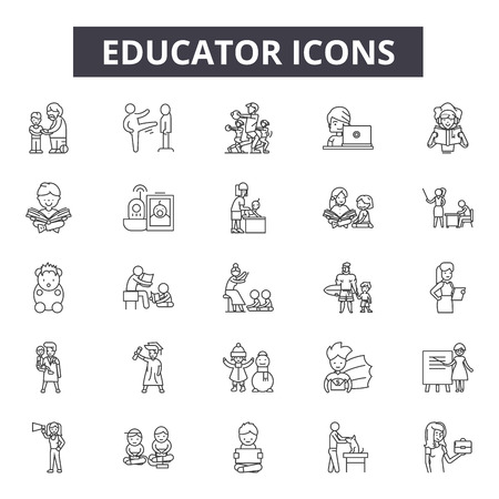 Educator line icons for web and mobile. Editable stroke signs. Educator  outline concept illustrations Banco de Imagens - 119390540