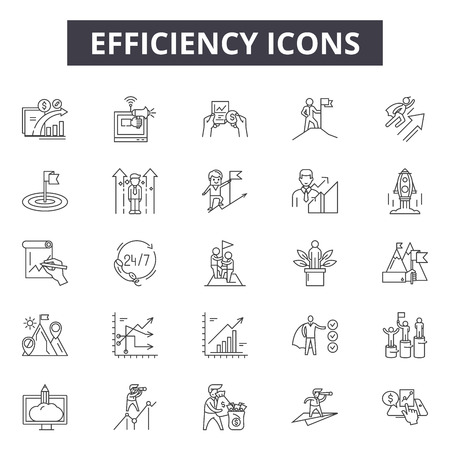 Iconos de línea de eficiencia para web y móvil. Signos de trazo editables. Ilustraciones del concepto de esquema de eficiencia Ilustración de vector