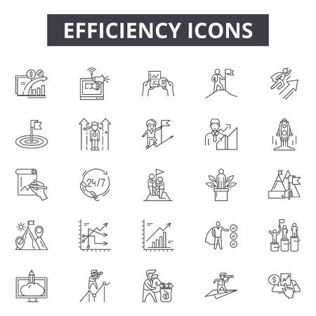 Ikony linii efektywności dla sieci web i mobile. Edytowalne znaki obrysu. Ilustracje koncepcji zarysu wydajności Ilustracje wektorowe