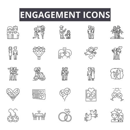 Icônes de ligne d'engagement pour le web et le mobile. Signes de course modifiables. Illustrations de concept de contour d'engagement