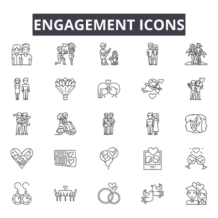 Engagement line icons for web and mobile. Editable stroke signs. Engagement  outline concept illustrations Illustration