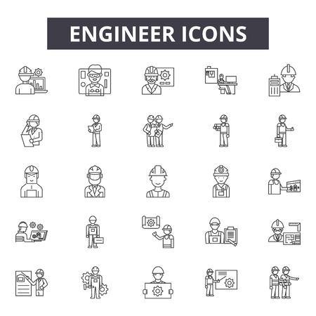 Ingenieurliniensymbole für Web und Mobile. Bearbeitbare Strichzeichen. Illustrationen zum Konzept des Ingenieurs Vektorgrafik