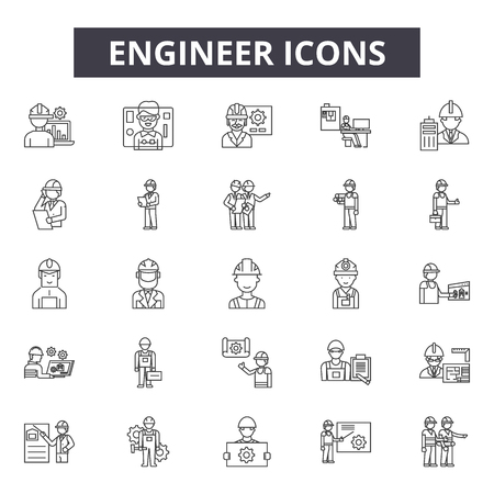 Engineer line icons for web and mobile. Editable stroke signs. Engineer  outline concept illustrations Illustration