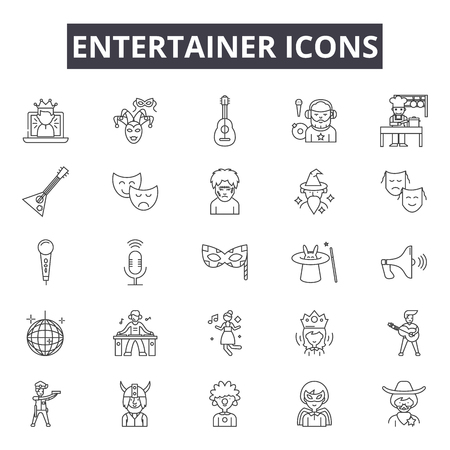 Entertainer line icons for web and mobile. Editable stroke signs. Entertainer  outline concept illustrations