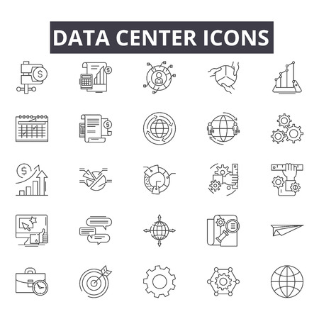 Data center line icons for web and mobile. Editable stroke signs. Data center  outline concept illustrations