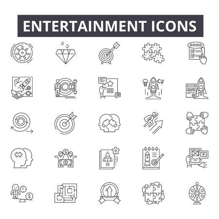 Entertainment line icons for web and mobile. Editable stroke signs. Entertainment  outline concept illustrations 向量圖像