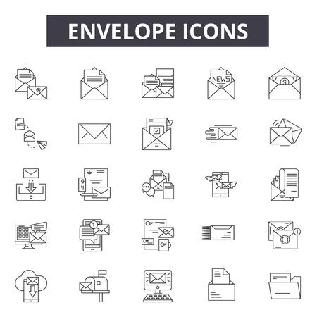 Envelope line icons for web and mobile. Editable stroke signs. Envelope  outline concept illustrations Illustration