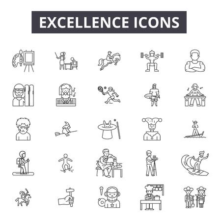 Icônes de ligne d'excellence pour le web et le mobile. Signes de course modifiables. Illustrations de concept de contour d'excellence Vecteurs