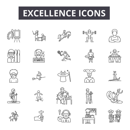 Excellence line icons for web and mobile. Editable stroke signs. Excellence  outline concept illustrations