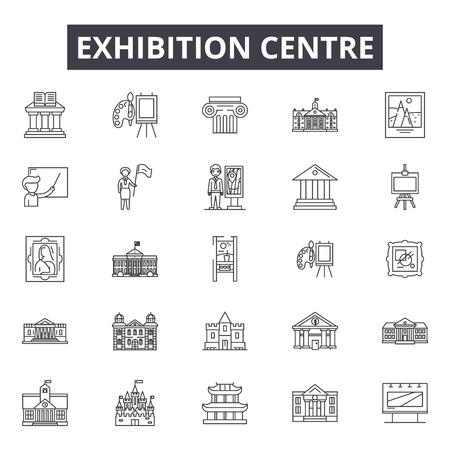 Iconos de línea de centro de exposiciones para web y móvil. Signos de trazo editables. Ilustraciones del concepto de esquema del centro de exposiciones