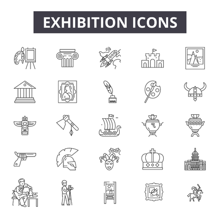 Exhibition line icons for web and mobile. Editable stroke signs. Exhibition  outline concept illustrations