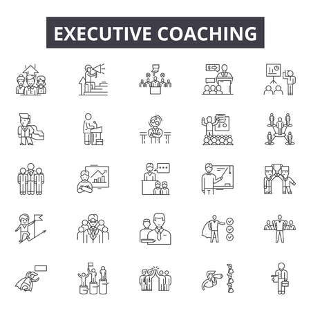 Executive coach line icons for web and mobile. Editable stroke signs. Executive coach  outline concept illustrations Ilustrace