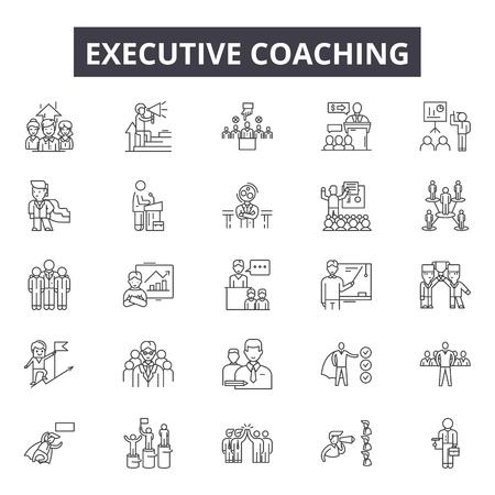 Iconos de línea de entrenador ejecutivo para web y móvil. Signos de trazo editables. Ilustraciones del concepto de esquema de entrenador ejecutivo