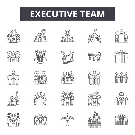 Icone della linea del team esecutivo per web e mobile. Segni di tratto modificabili. Illustrazioni del concetto di contorno del team esecutivo
