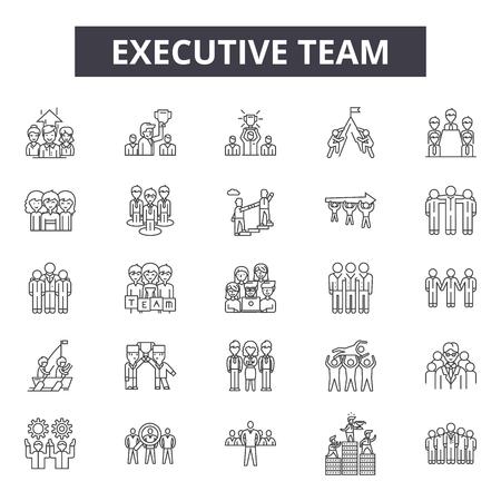 Uitvoerende teamlijnpictogrammen voor web en mobiel. Bewerkbare lijntekens. Illustraties van het concept van het uitvoerend teamoverzicht