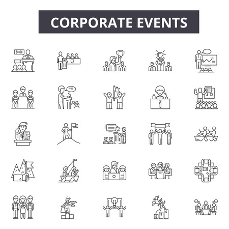 Corporate events line icons for web and mobile. Editable stroke signs. Corporate events  outline concept illustrations Illustration