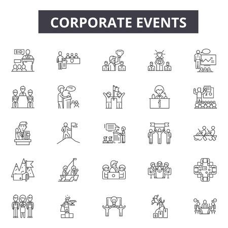 Symbole für Unternehmensveranstaltungen für Web und Mobile. Bearbeitbare Strichzeichen. Firmenveranstaltungen skizzieren Konzeptillustrationen
